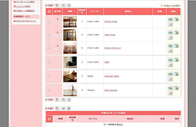 ネットショップ作成サービスおちゃのこネット商品管理画面