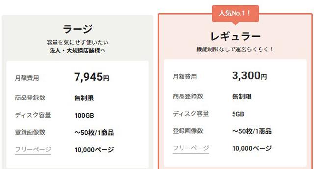 ネットショップ作成サービスカラーミーショップ料金202109