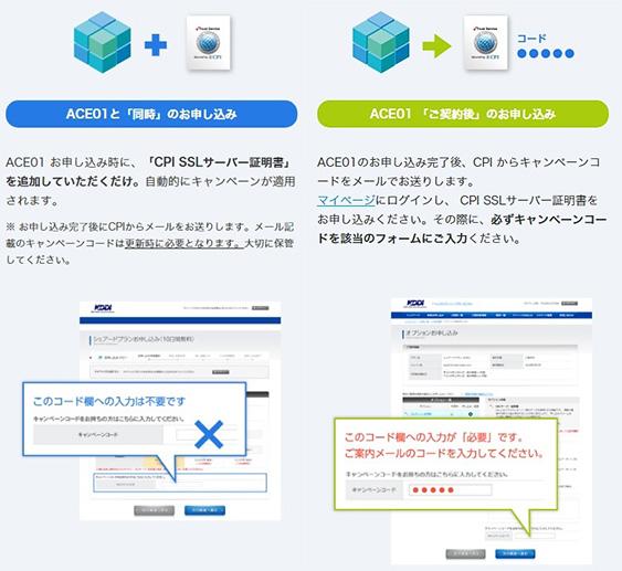 レンタルサーバーCPI ACE01キャンペーン申し込み方法