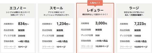 レンタルサーバーネットショップ作成サービスカラーミーショップ料金