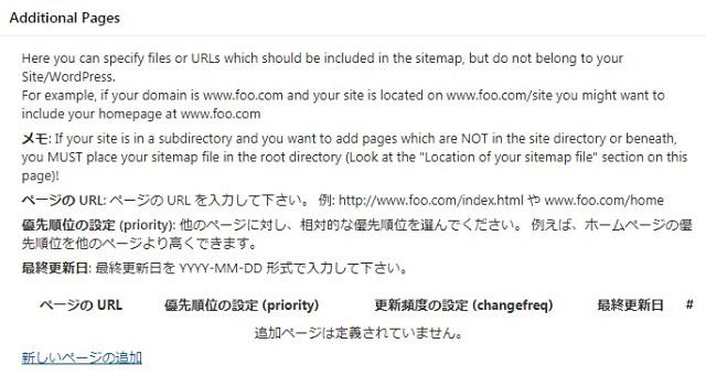 レンタルサーバー Google XML Sitmaps Additional Pages