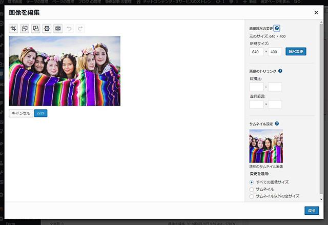 レンタルサーバー WordPress上で画像をリサイズ・修正する方法 画像を編集画面
