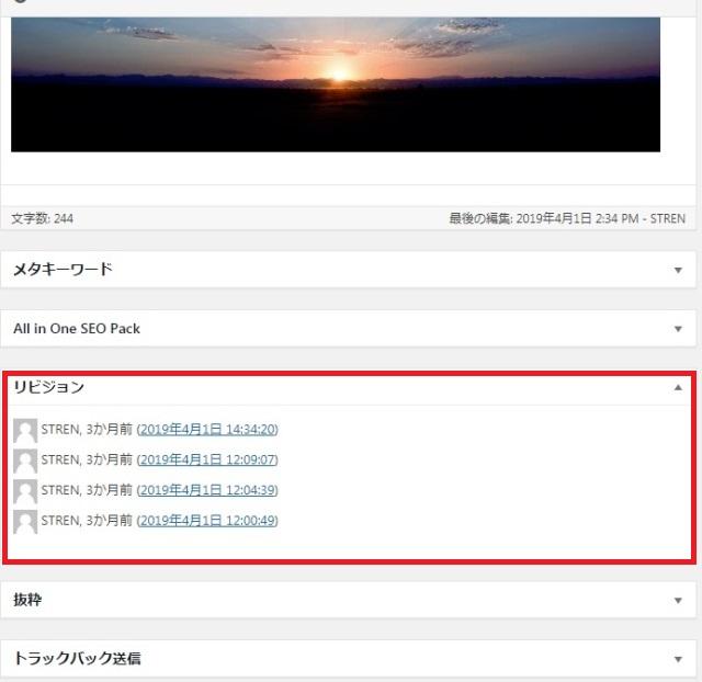 レンタルサーバー WordPress リビジョン機能で、消えたページを復活させる方法、表示オプション リビジョン一覧表示