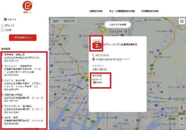 キャッシュレスポイント還元対象店舗を地図表示例