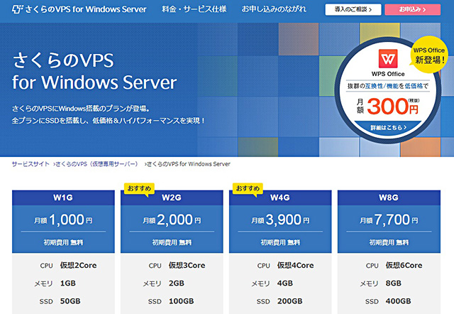 レンタルサーバー さくらのVPS for Windows Server TOP