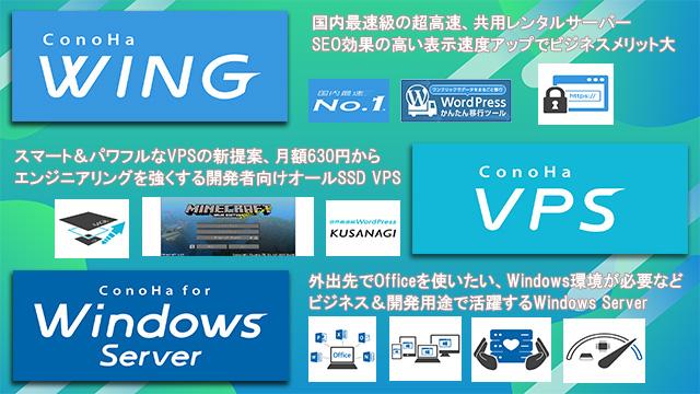 レンタルサーバーConoha WINGの共用サーバー、VPS、Windows serverまとめ