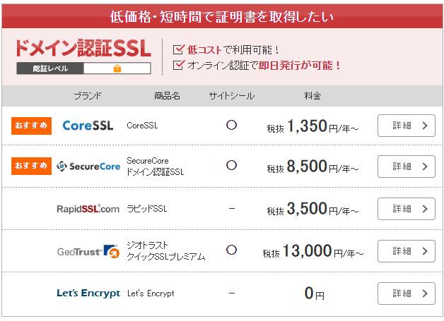 SSLBOXドメイン認証型リスト