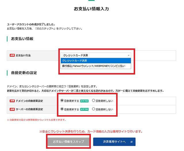 レンタルサーバー バリューサーバー バリュードメインお支払い情報入力