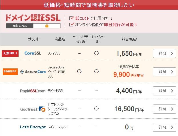 SSL証明書メニュー 低価格