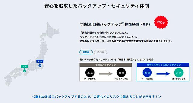 レンタルサーバー カラフルボックス 東京・大阪遠隔地自動バックアップが標準装備